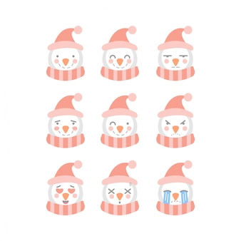 Cute snowman emoticon set