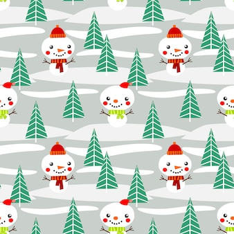 Cute snowman in the forest seamless pattern.