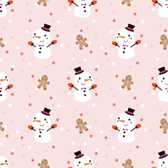 Cute snowman  and gingerbread man in christmas winter theme seamless pattern