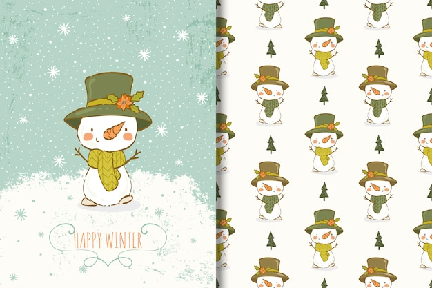 Cute snowman hand drawn illustration. card and seamless pattern