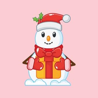 クリスマスプレゼントを持っているかわいい雪だるま。クリスマスイラスト