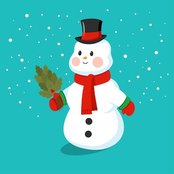 Милый снеговик в шляпе, шарфе и варежках мультяшный забавный персонаж на фоне.