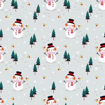 Милый снеговик в рождественском сезоне бесшовные модели