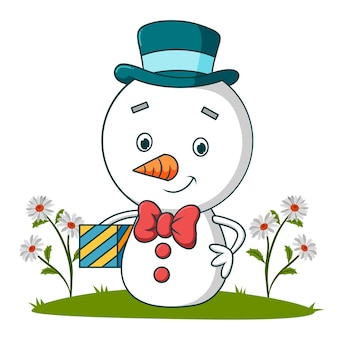 The cute snowman is holding a gift box of illustration
