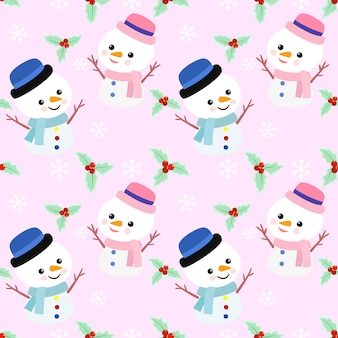 Cute snowman on pink background seamless pattern.