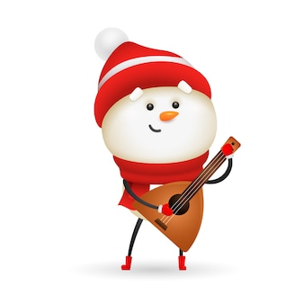 Cute snowman playing balalaika