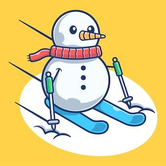 귀여운 눈사람 재생 스키 스포츠. 눈사람 마스코트 만화. 크리스마스 요소 플랫 만화 스타일