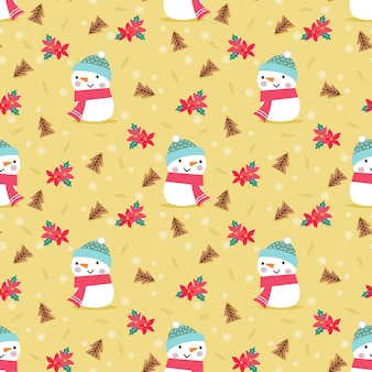 Cute snowman and red flowers in christmas theme seamless pattern