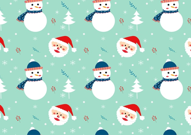 Cute snowman and santa clause seamless pattern vector