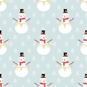Cute snowman seamless pattern.