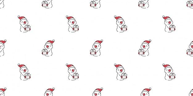 Симпатичный снеговик бесшовный фон