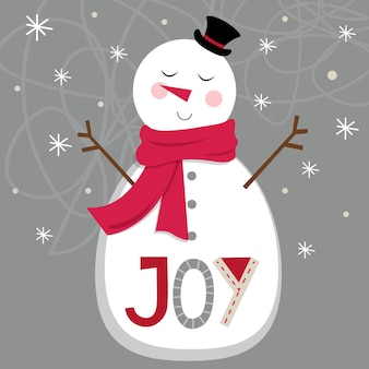 Cute snowman on silver background and joy letter