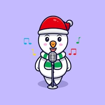 Милый снеговик поет талисман иллюстрации шаржа.