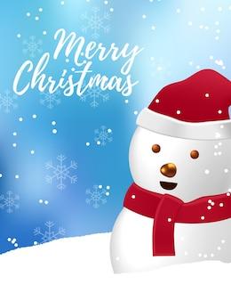 メリークリスマスと新年あけましておめでとうございますの挨拶のために雪の上で笑っているかわいい雪だるま
