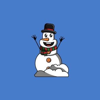 スカーフとシルクハットの漫画のベクトル図で笑ってかわいい雪だるま