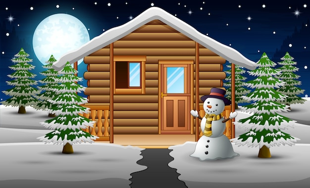 Cute snowman standing in front of the house with a full moon background