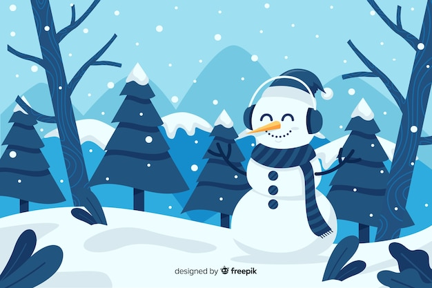 Cute snowman staying in the snow flat design