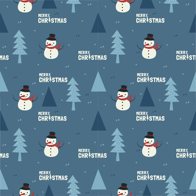 Cute snowman and the tree for christmas seamless pattern