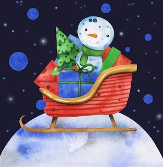 Милый снеговик акварель рисованной санта-сани с подарками.