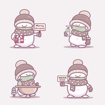 Симпатичный снеговик в медицинской маске, мыть руки и использовать дезинфицирующее средство для рук, защищающее от коронавируса covid-1. новая нормальная рождественская концепция