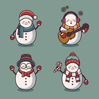 Милый снеговик в рождественском костюме