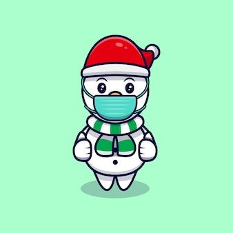Cute snowman wearing mask mascot cartoon  illustration.