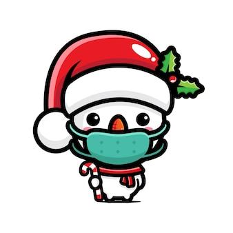 Cute snowman wearing a mask