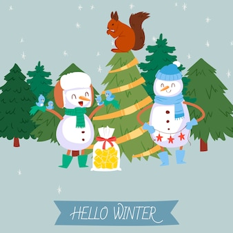 Cute snowman and winter forest illustration