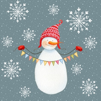 Cute Snowman with Bunting