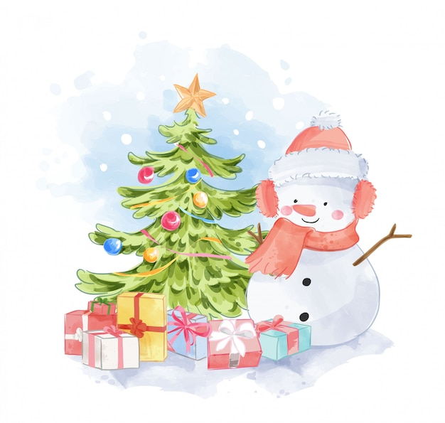 Cute snowman with presents and christmas tree