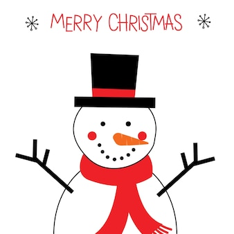Cute snowman  with red and white color