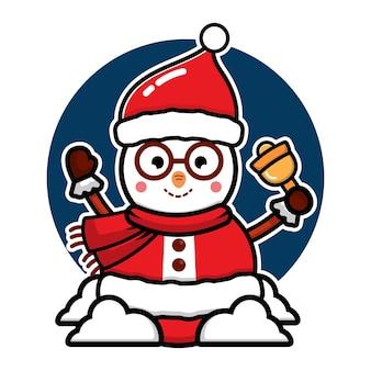 Милый снеговик в костюме санта-клауса мультяшный вектор рождественская концепция иллюстрации premium векторы
