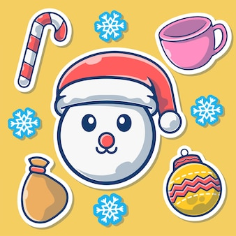サンタの帽子、飾りとかわいい雪だるま。雪だるまのマスコット漫画。クリスマス要素フラット漫画スタイル
