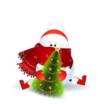 Симпатичный снеговик с шарфом, красной шляпой санта-клауса и рождественской елкой на белом фоне. векторная иллюстрация