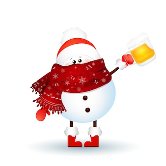 Cute snowman with scarf, red santa claus hat and holding a beer isolated on white background. vector illustration