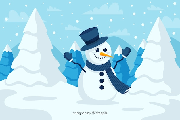 Cute snowman with top hat and christmas trees in the snow
