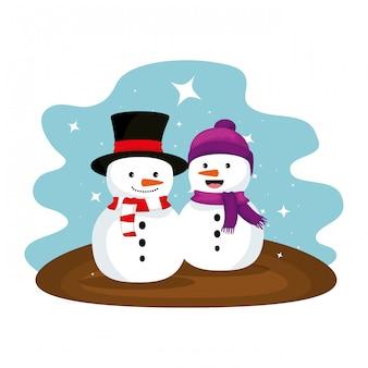 Cute snowmen christmas characters