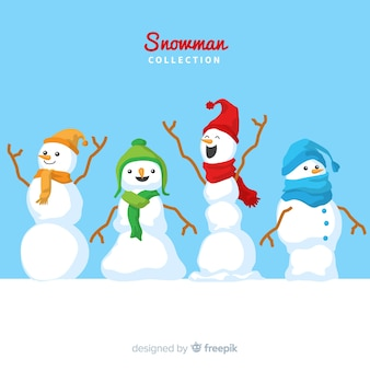 Cute snowmen christmas collection in flat design