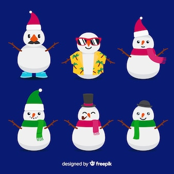 Cute snowmen collection with seasonal clothes