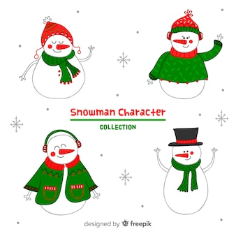 Cute snowmen hand drawn collection with winter clothes