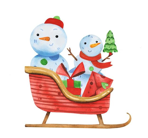 Симпатичные снеговики акварель рисованной санта-сани с подарками.