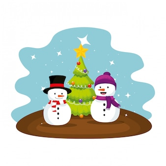 Cute snowmen with christmas tree characters