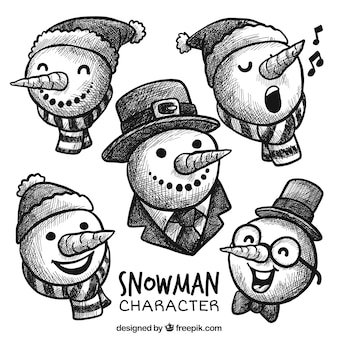 Cute snowmen with hats sketches