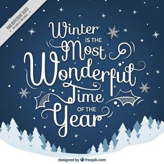 Симпатичный снежный пейзаж фон с фразой в течение зимы