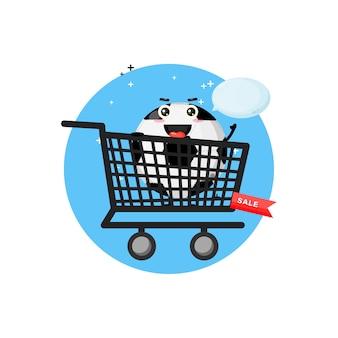 ショッピングカートのかわいいサッカーボールのマスコット