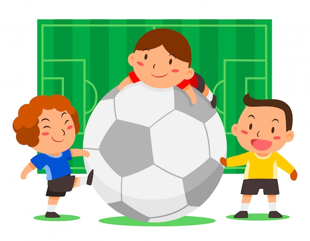 Cute soccer players with big ball on football field background.