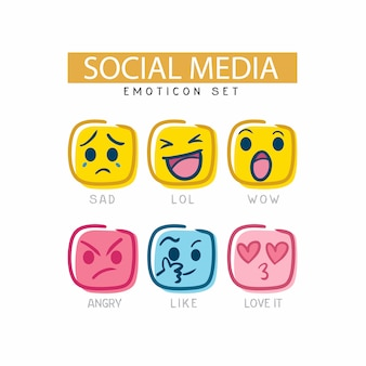 The cute social media emoticon set