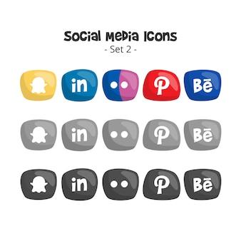 かわいいソーシャルメディアのロゴとアイコンを設定