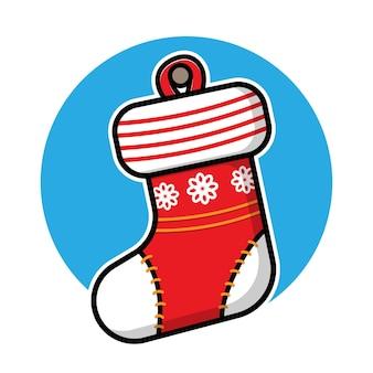 Cute sock cartoon vector christmas concept illustration