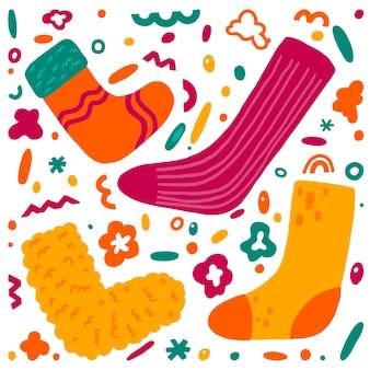 Симпатичные носки и абстрактные формы плоской рисованной векторные иллюстрации. красочная коллекция в скандинавском стиле. уютная зимняя одежда простой набор элементов